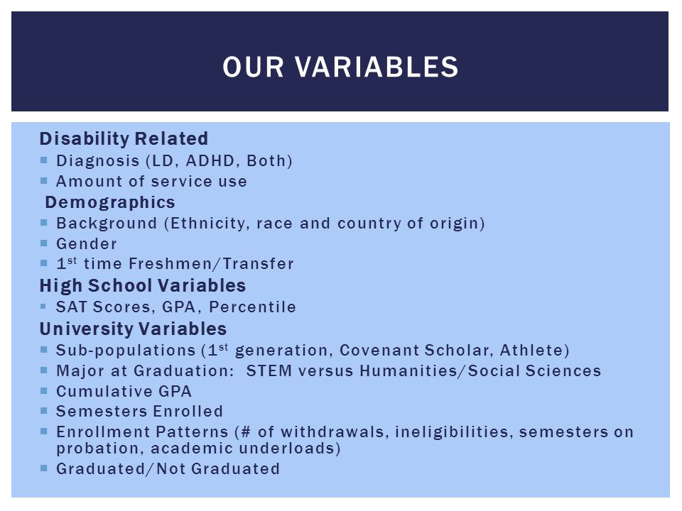 Our Variables Disability Related High School Variables