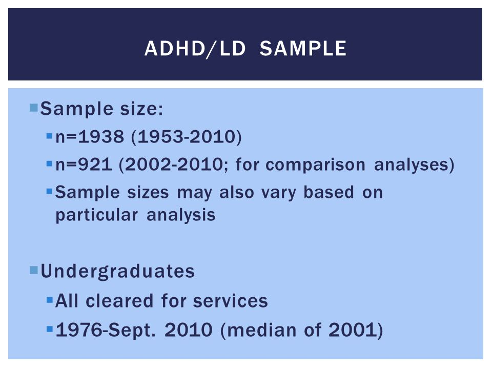 adhd/ld sample Sample size: Undergraduates All cleared for services