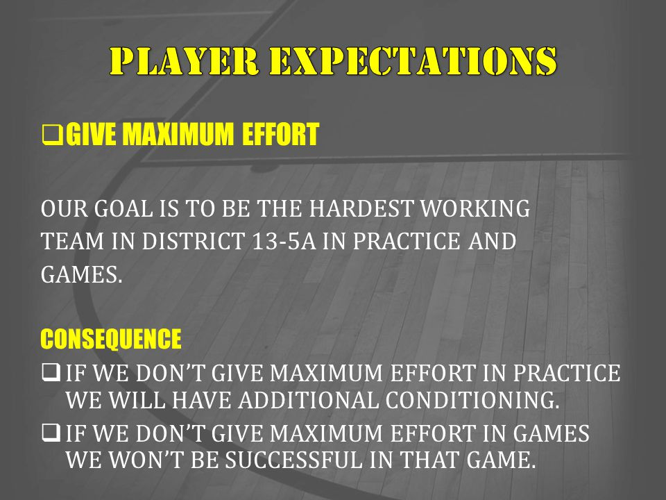 Player expectations GIVE MAXIMUM EFFORT