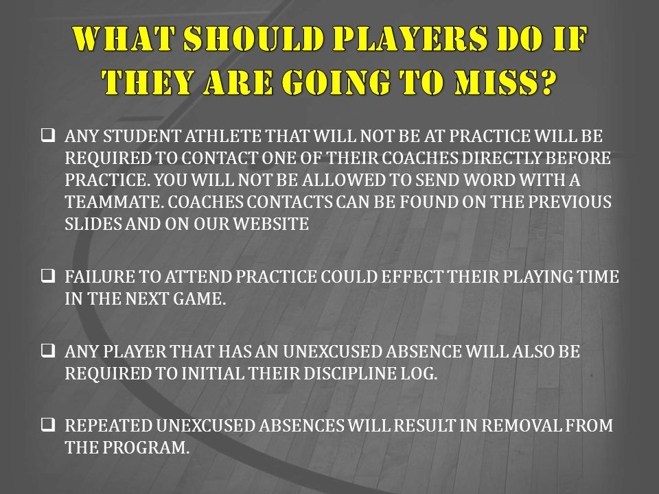 WHAT SHOULD PLAYERS DO IF THEY ARE GOING TO MISS