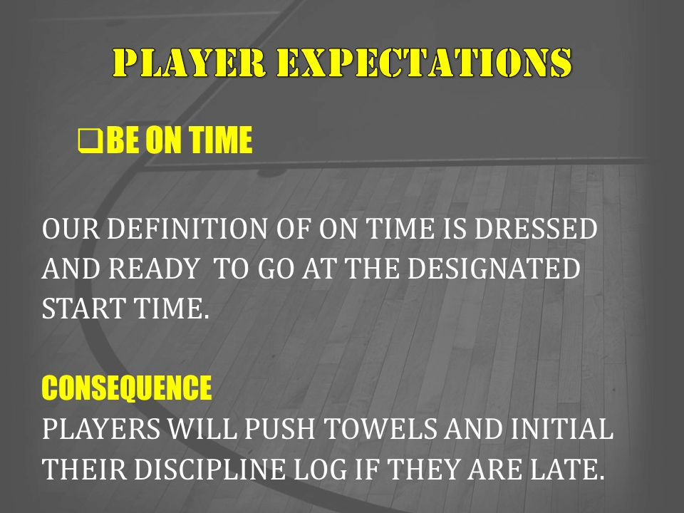 PLAYER EXPECTATIONS BE ON TIME OUR DEFINITION OF ON TIME IS DRESSED