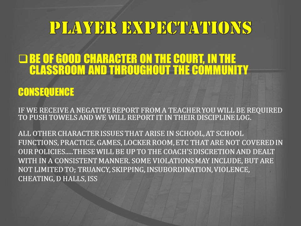 Player expectations BE OF GOOD CHARACTER ON THE COURT, IN THE CLASSROOM AND THROUGHOUT THE COMMUNITY.