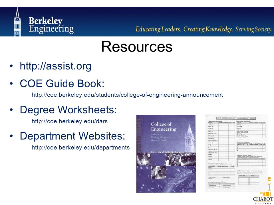 Resources http://assist.org COE Guide Book: Degree Worksheets: