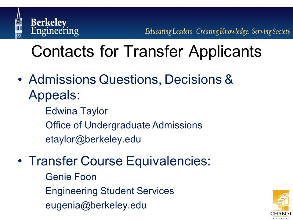 Contacts for Transfer Applicants