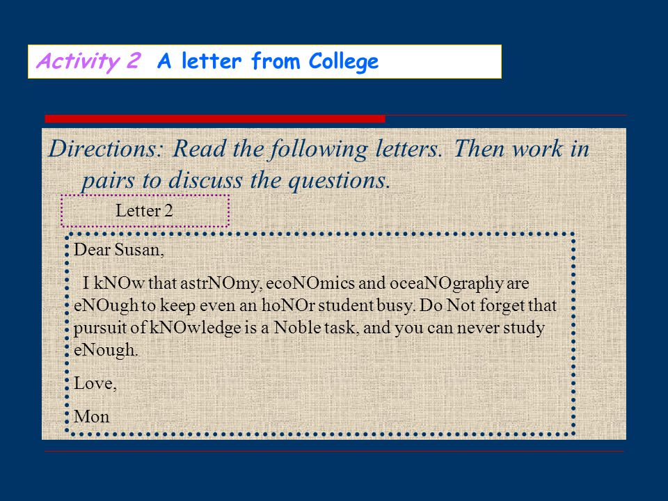 Activity 2 A letter from College