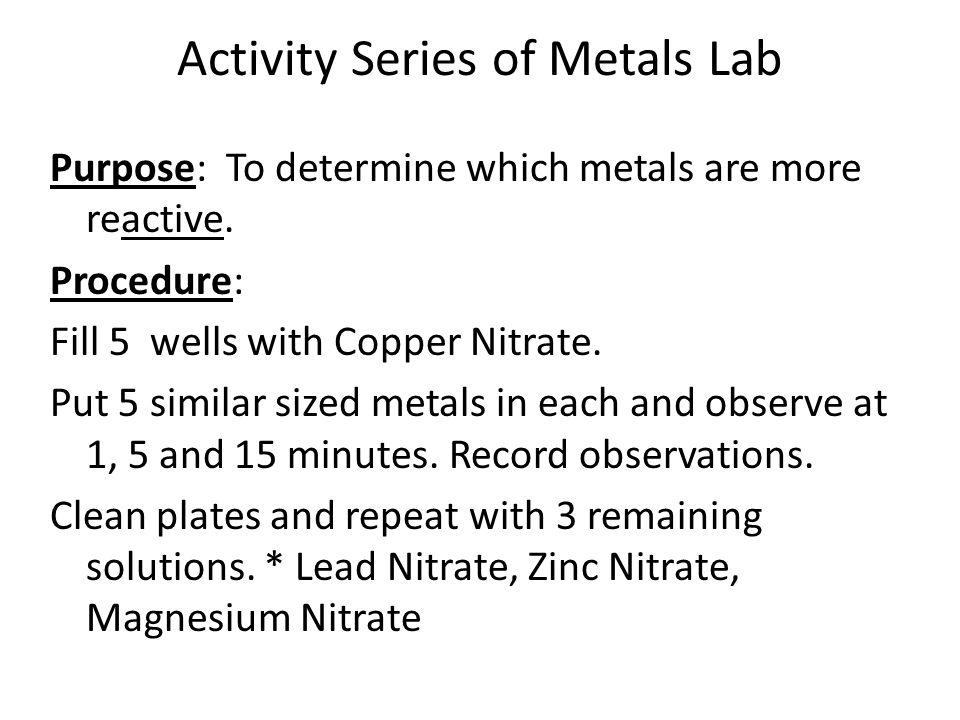 Activity Series of Metals Lab