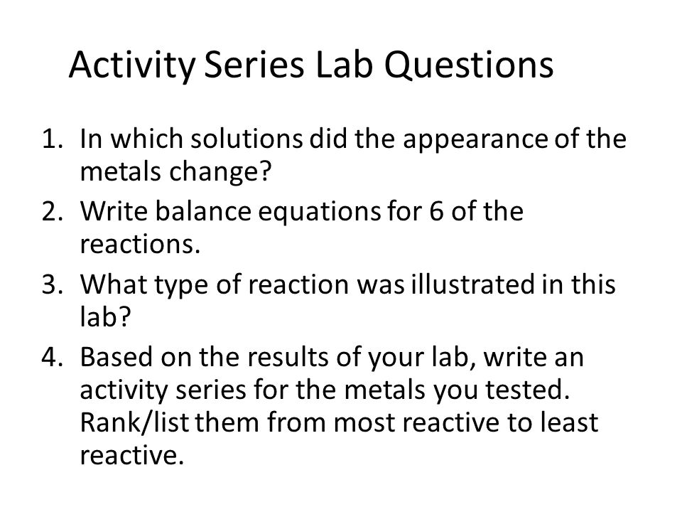 Activity Series Lab Questions