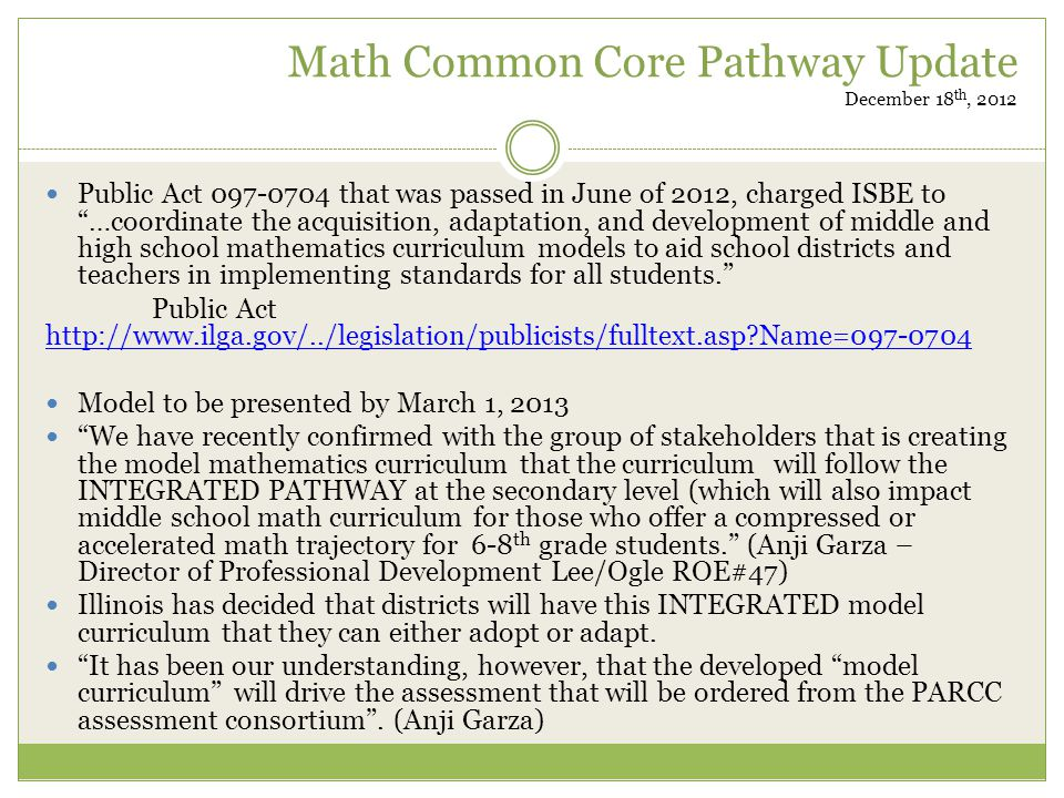 Math Common Core Pathway Update December 18th, 2012