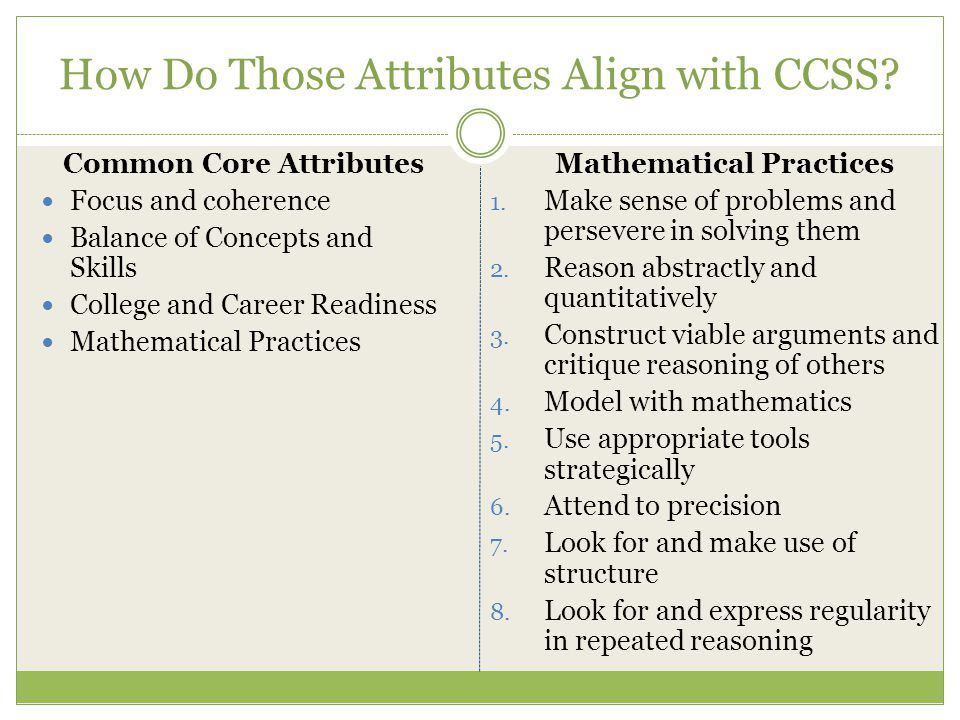 How Do Those Attributes Align with CCSS