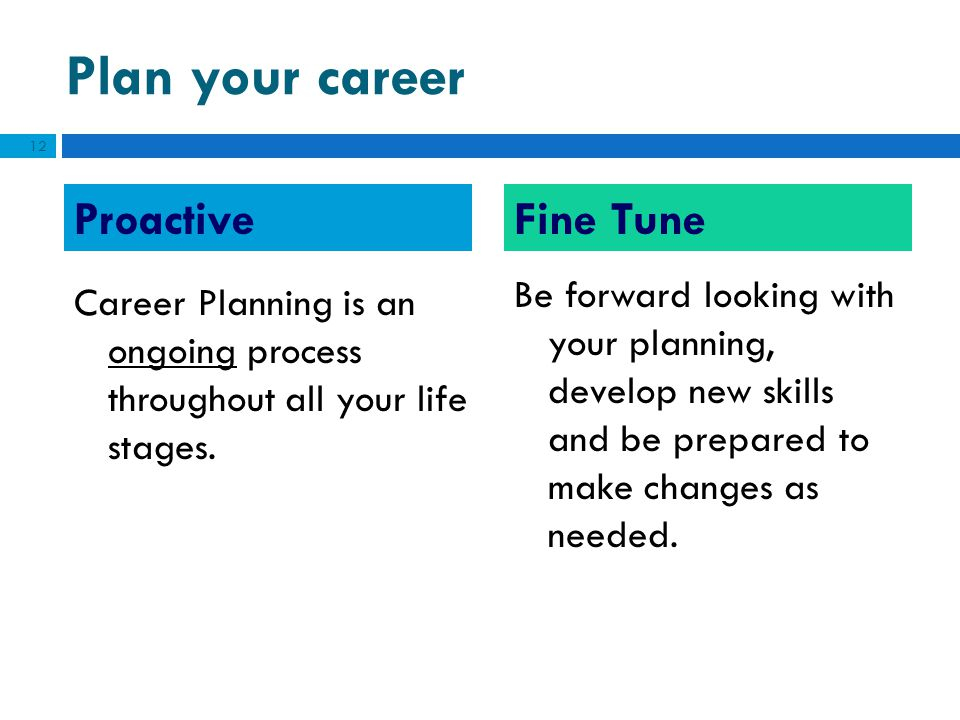 Plan your career Fine Tune Proactive