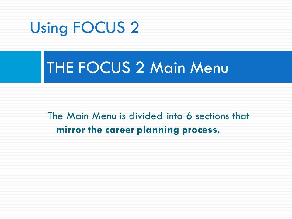 Using FOCUS 2 THE FOCUS 2 Main Menu