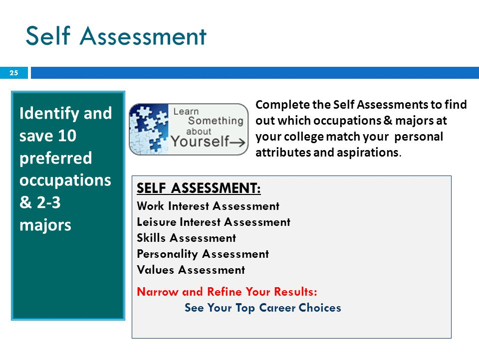 Self Assessment Identify and save 10 preferred occupations & 2-3 majors.