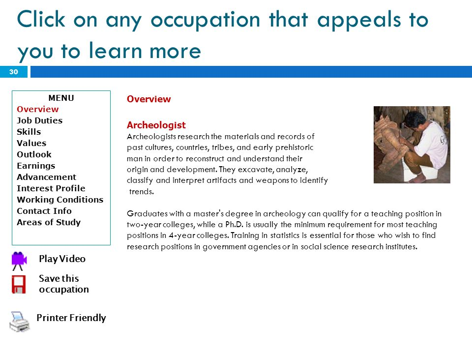 Click on any occupation that appeals to you to learn more