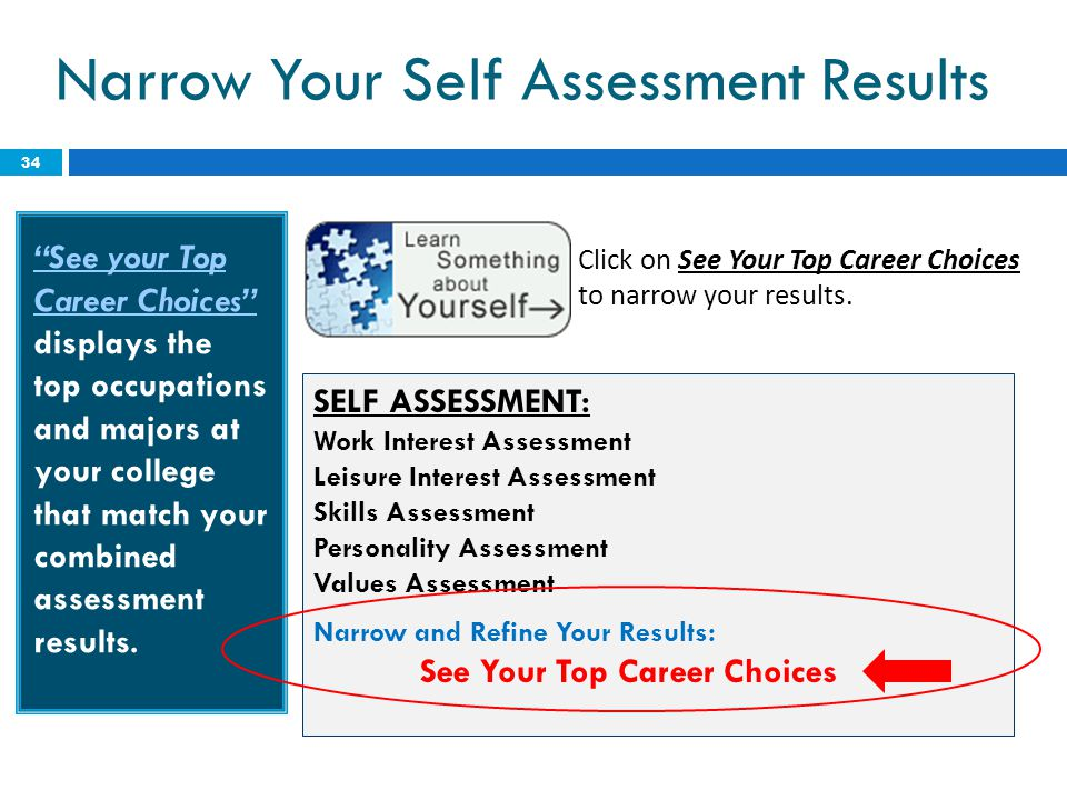 Narrow Your Self Assessment Results