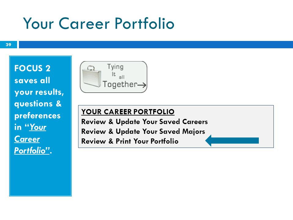Your Career Portfolio FOCUS 2 saves all your results, questions & preferences in Your Career Portfolio .