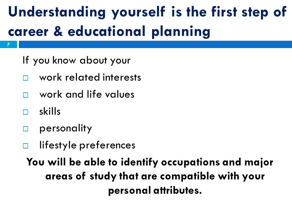Understanding yourself is the first step of career & educational planning