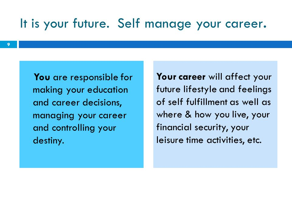 It is your future. Self manage your career.