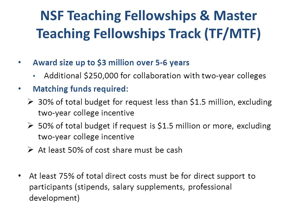 NSF Teaching Fellowships & Master Teaching Fellowships Track (TF/MTF)