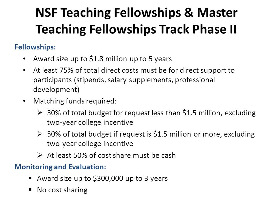 NSF Teaching Fellowships & Master Teaching Fellowships Track Phase II