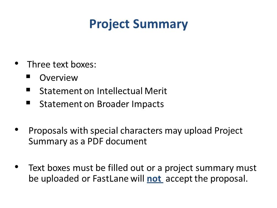 Project Summary Three text boxes: Overview