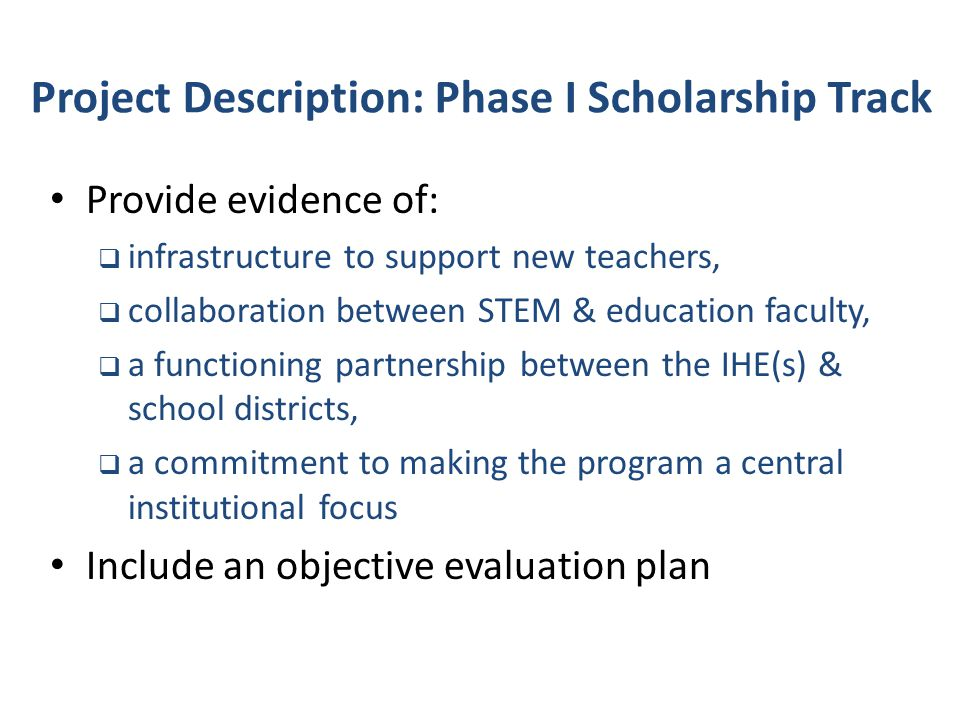 Project Description: Phase I Scholarship Track