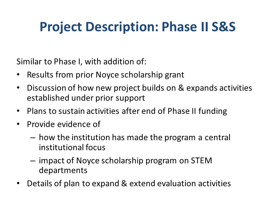 Project Description: Phase II S&S