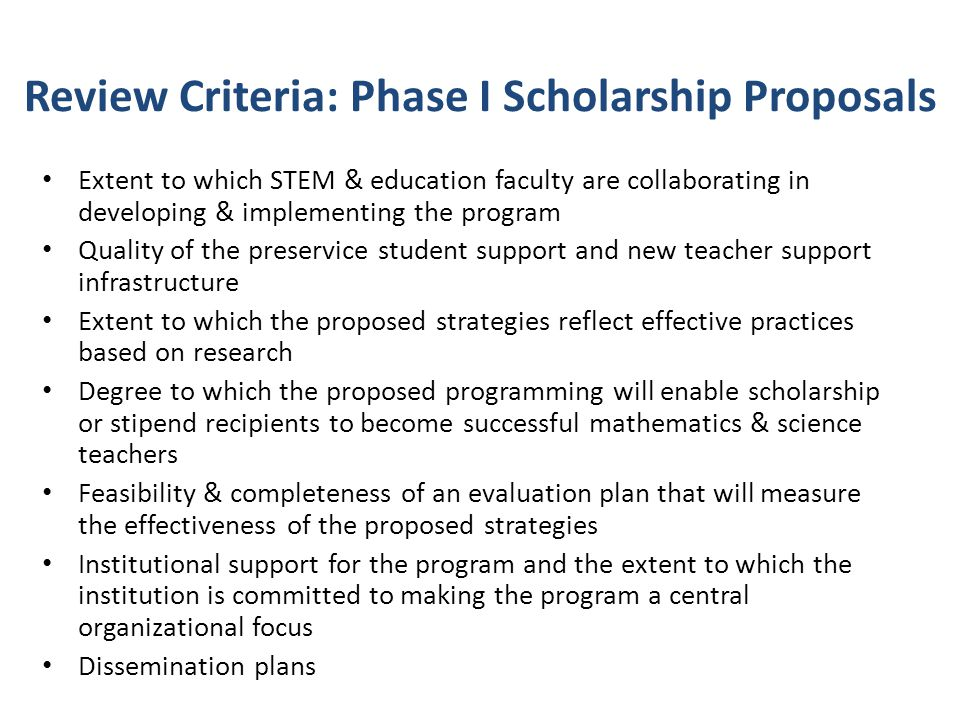 Review Criteria: Phase I Scholarship Proposals
