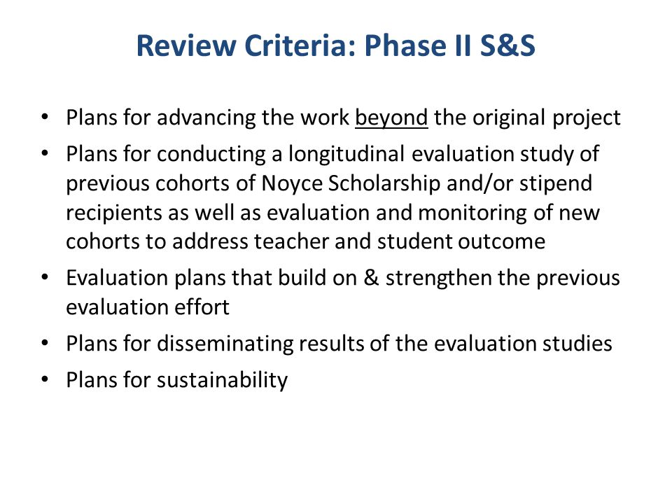 Review Criteria: Phase II S&S