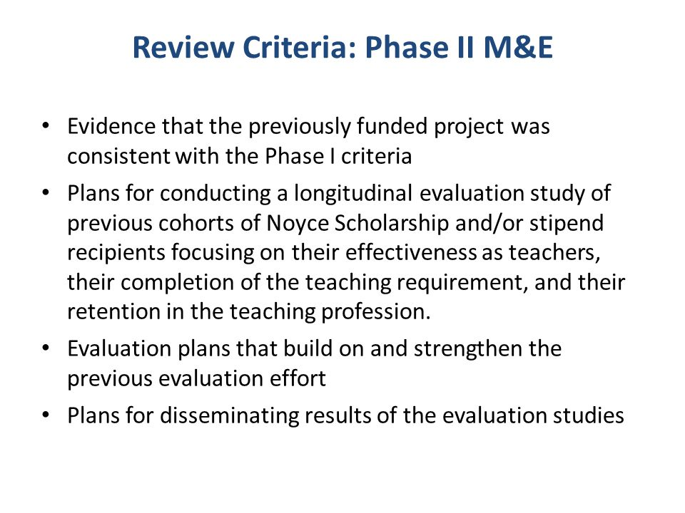 Review Criteria: Phase II M&E