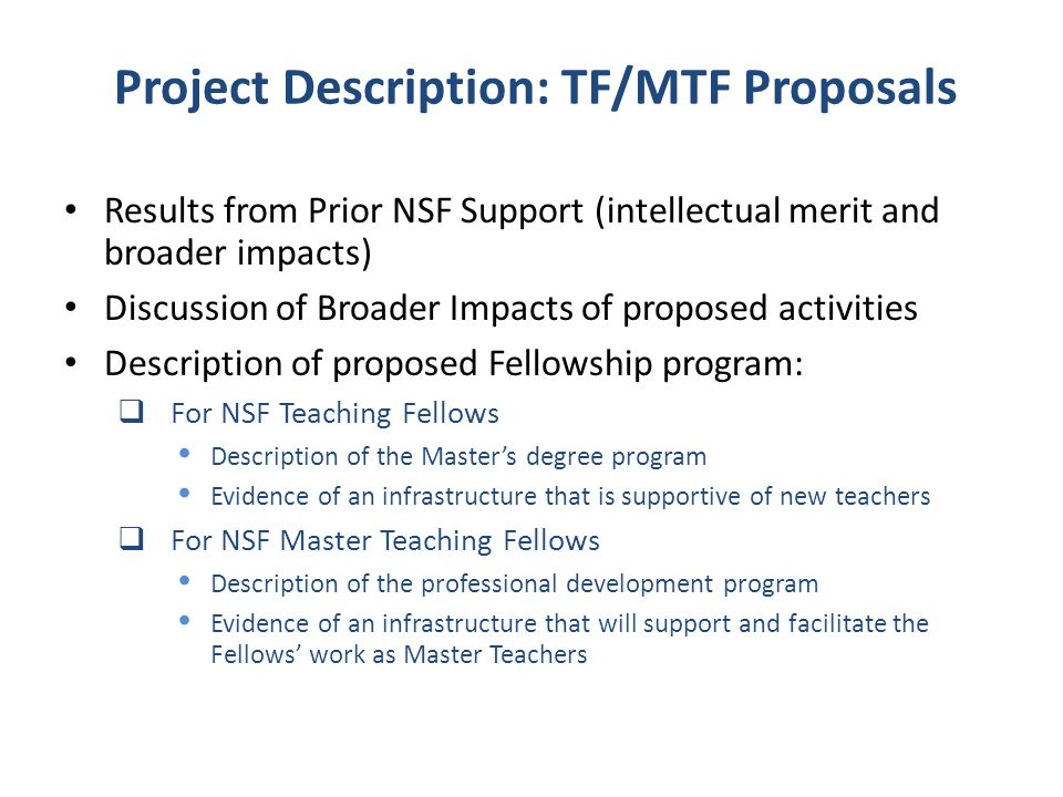 Project Description: TF/MTF Proposals