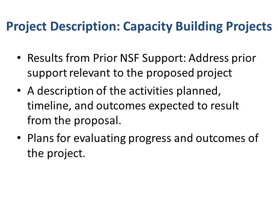 Project Description: Capacity Building Projects