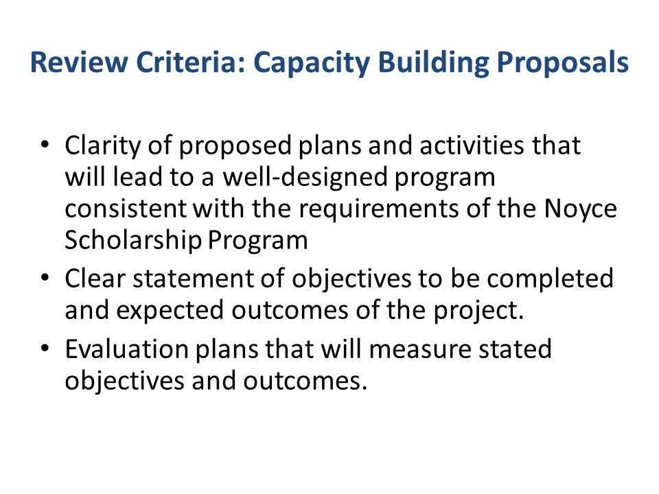 Review Criteria: Capacity Building Proposals