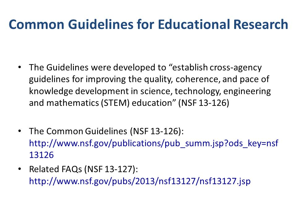 Common Guidelines for Educational Research