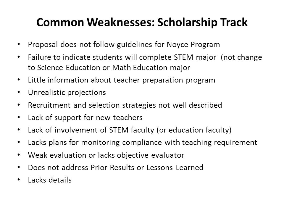 Common Weaknesses: Scholarship Track