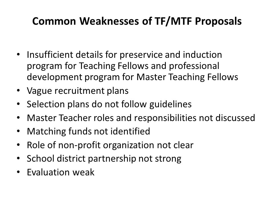Common Weaknesses of TF/MTF Proposals