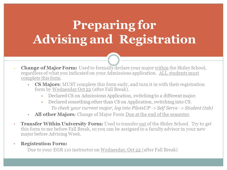 Preparing for Advising and Registration
