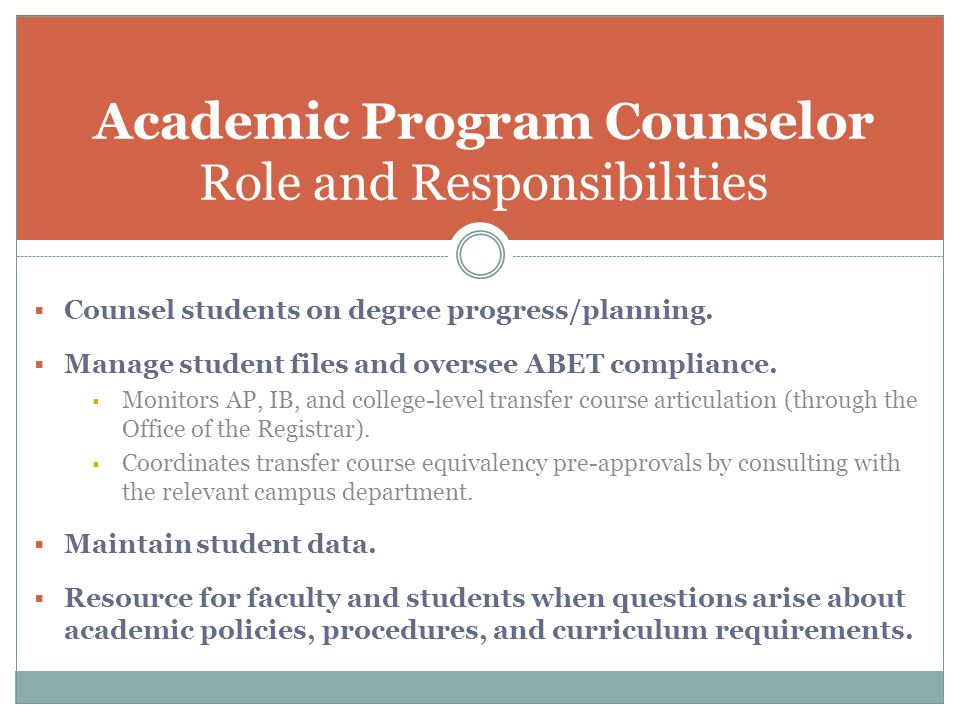 Academic Program Counselor Role and Responsibilities