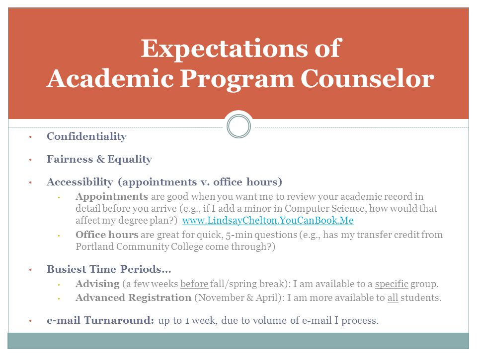 Expectations of Academic Program Counselor