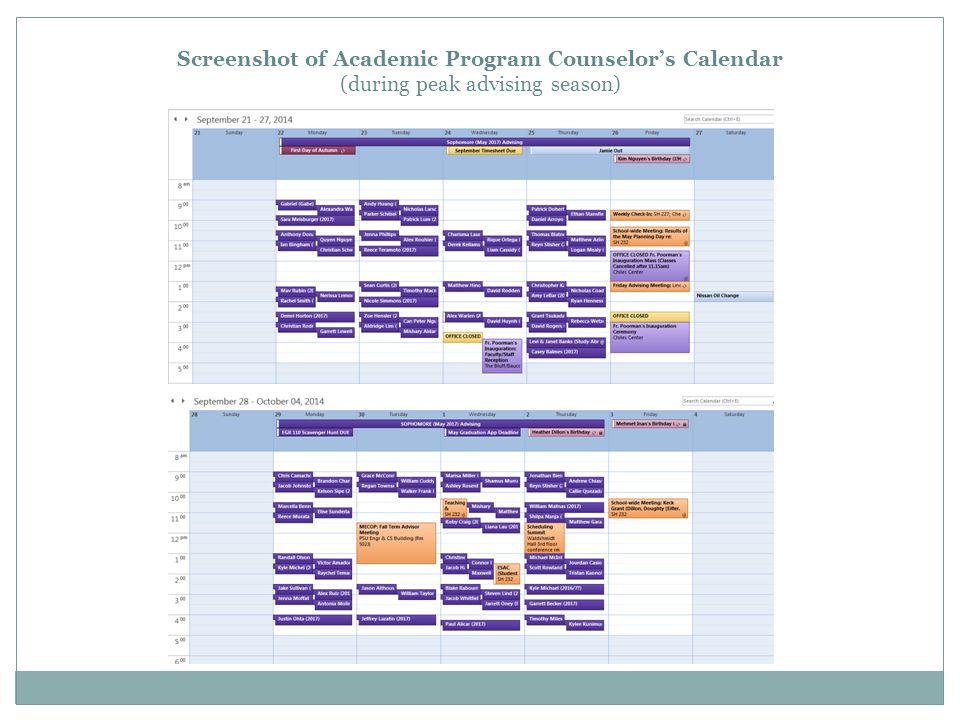 Screenshot of Academic Program Counselor's Calendar