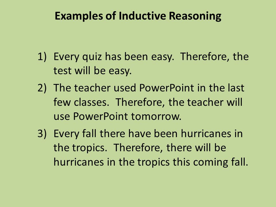 Examples of Inductive Reasoning