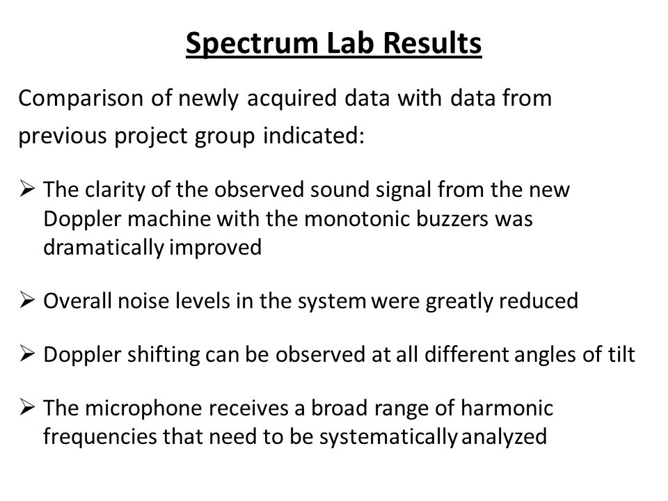 Spectrum Lab Results Comparison of newly acquired data with data from