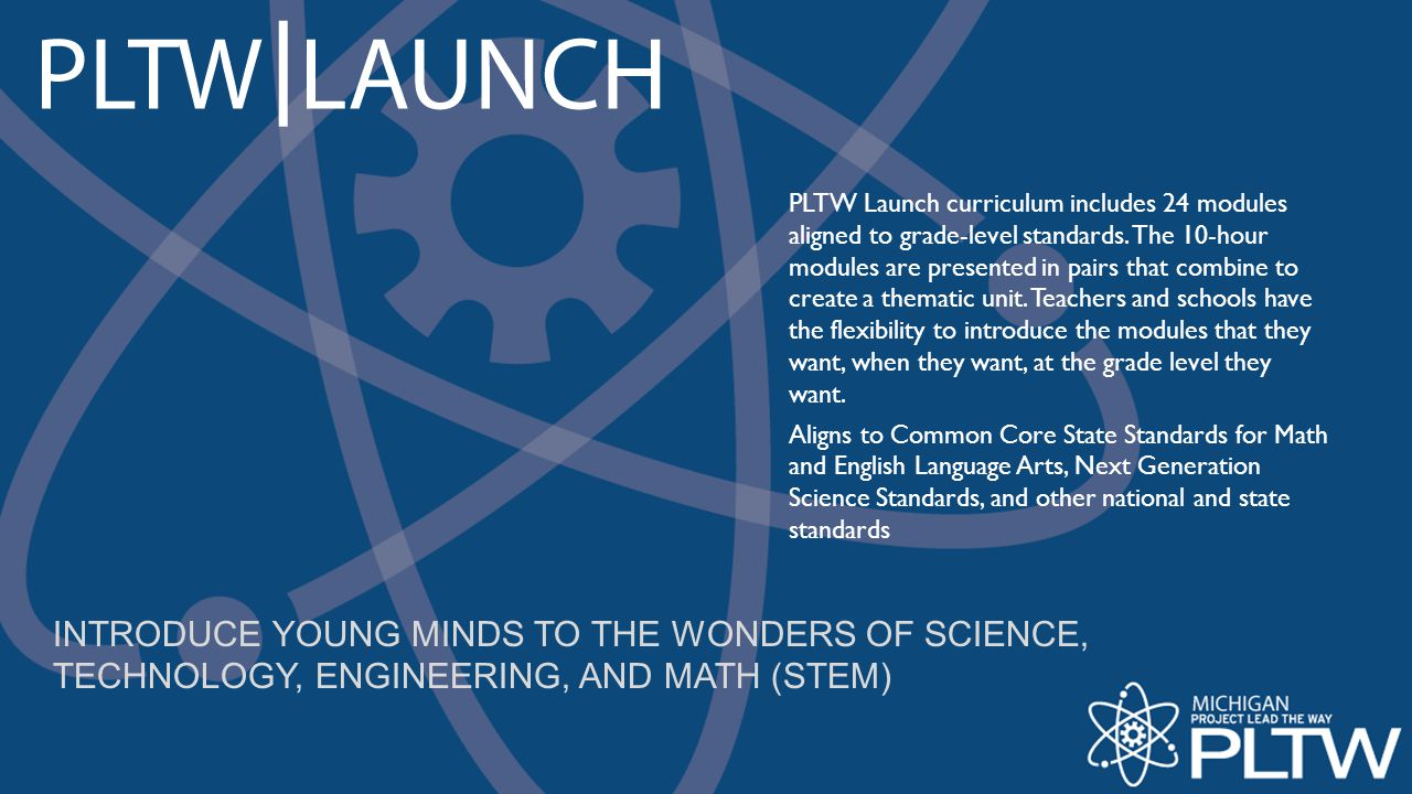 PLTW Launch curriculum includes 24 modules aligned to grade-level standards. The 10-hour modules are presented in pairs that combine to create a thematic unit. Teachers and schools have the flexibility to introduce the modules that they want, when they want, at the grade level they want.