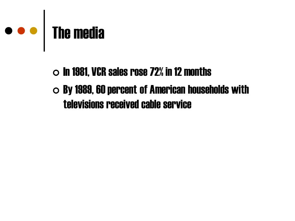 The media In 1981, VCR sales rose 72% in 12 months