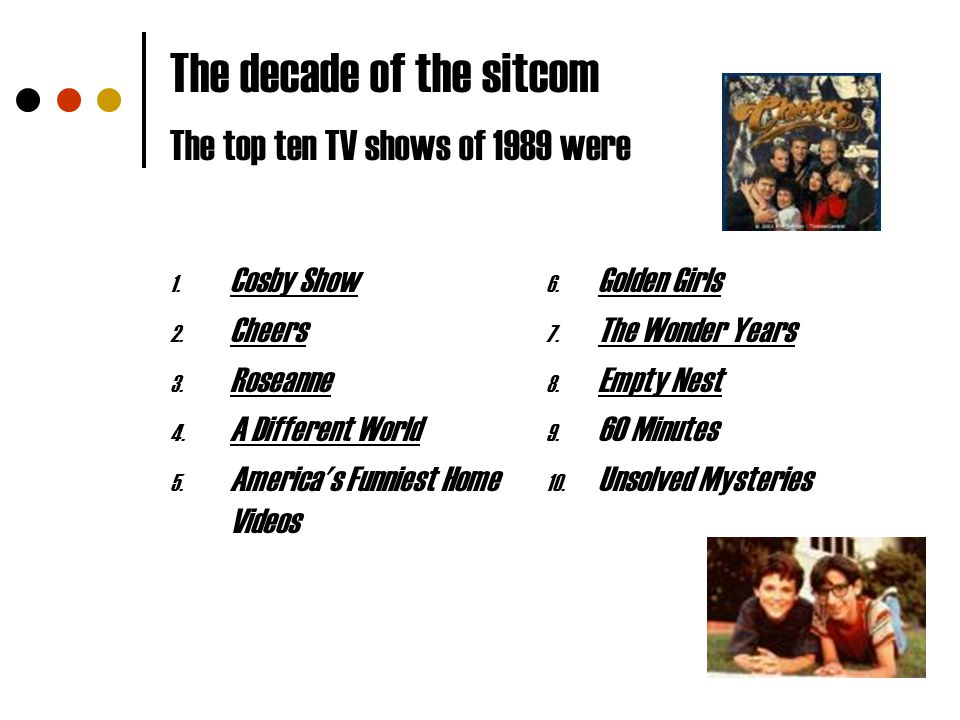 The decade of the sitcom The top ten TV shows of 1989 were