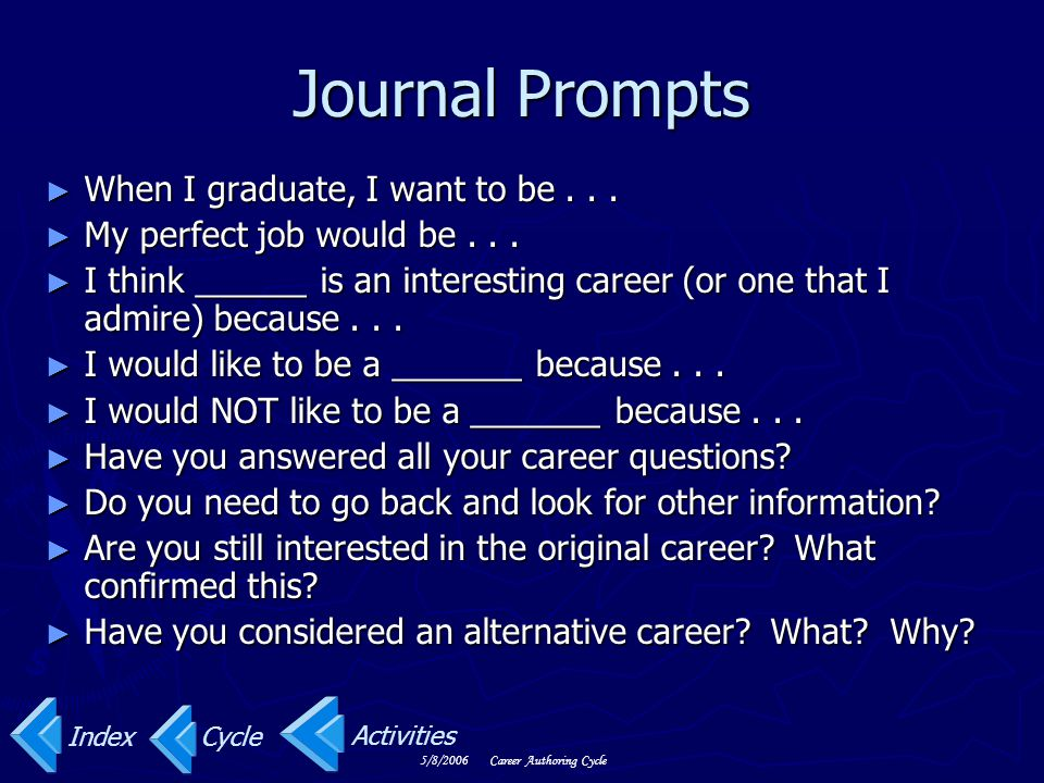 Journal Prompts When I graduate, I want to be . . .