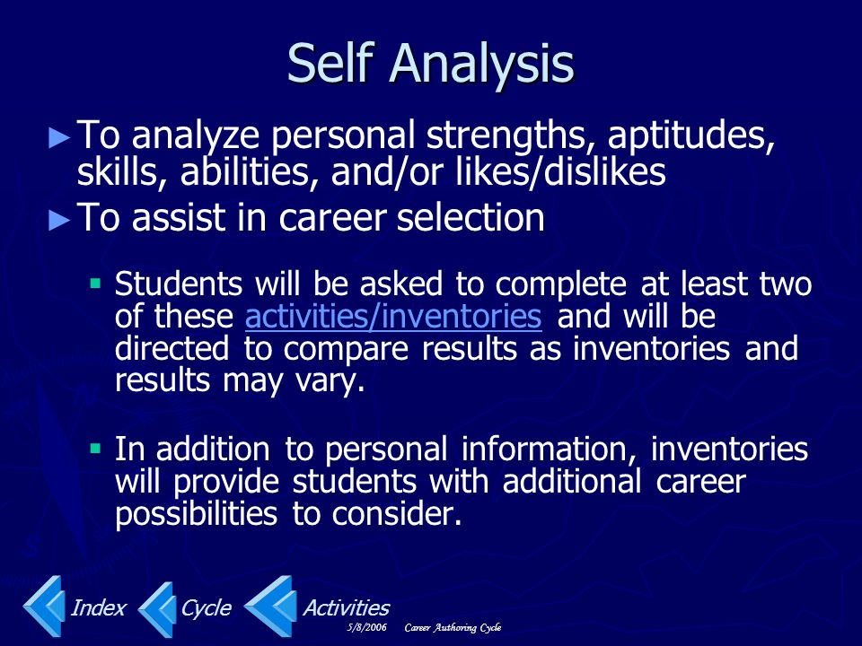 Self Analysis To analyze personal strengths, aptitudes, skills, abilities, and/or likes/dislikes. To assist in career selection.