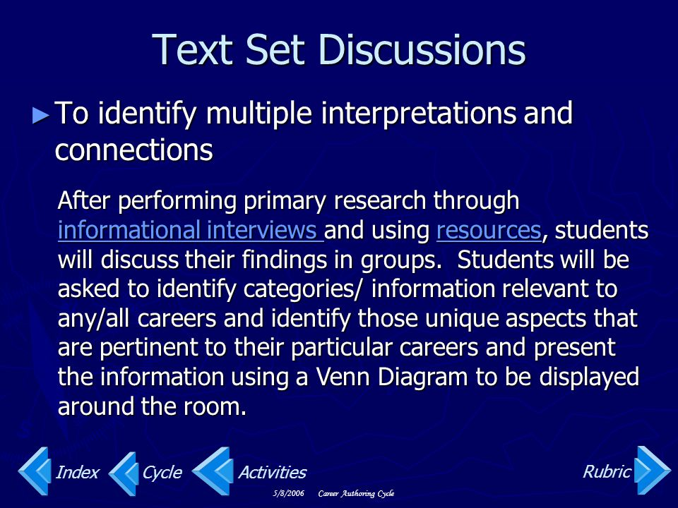 Text Set Discussions To identify multiple interpretations and connections.