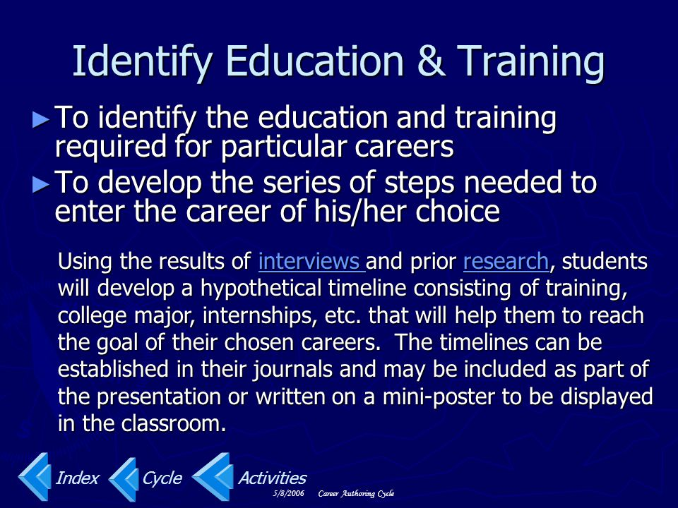 Identify Education & Training