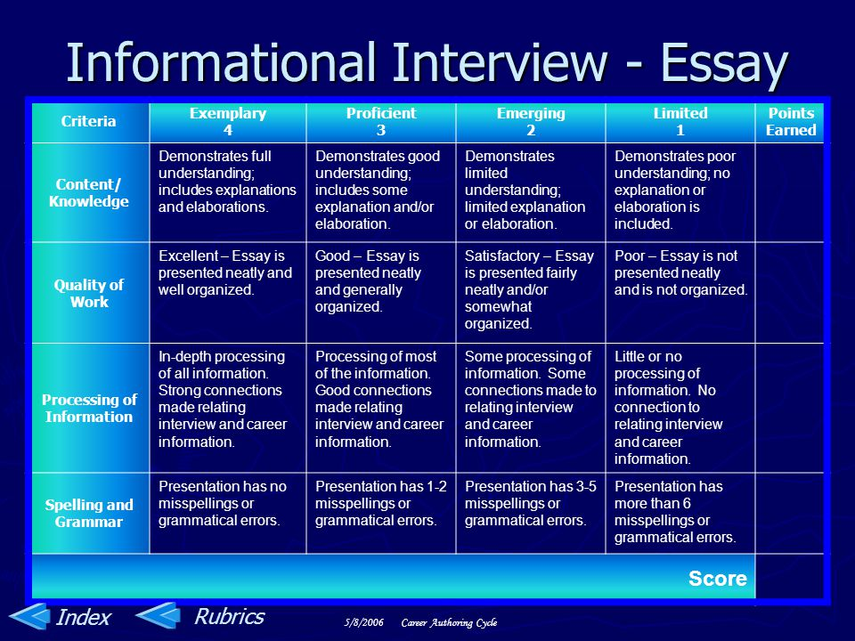 Informational Interview - Essay