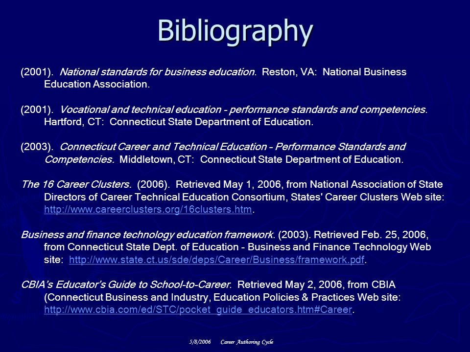 Bibliography (2001). National standards for business education. Reston, VA: National Business Education Association.